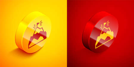 Isometric Mountains with flag on top icon isolated on orange and red background. Symbol of victory or success concept. Goal achievement. Circle button. Vector 向量圖像