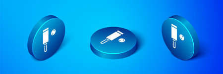 Isometric Wood cricket bat and ball icon isolated on blue background. Blue circle button. Vector