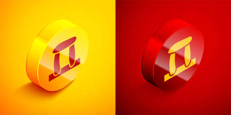 Isometric Stonehenge icon isolated on orange and red background. Circle button. Vector