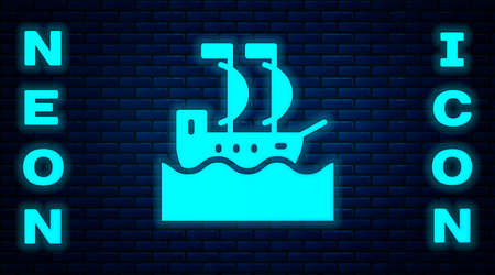 Glowing neon Sailboat or sailing ship icon isolated on brick wall background. Sail boat marine cruise travel. Vector