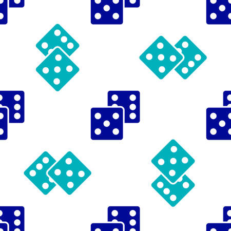 Blue Game dice icon isolated seamless pattern on white background. Casino gambling. Vector