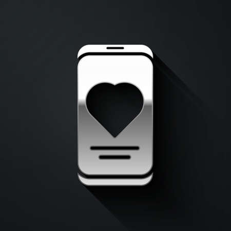 Silver Smartphone with heart rate monitor function icon isolated on black background. Long shadow style. Vector Çizim