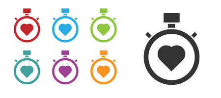 Black Heart in the center stopwatch icon isolated on white background. Valentines day. Set icons colorful. Vector Çizim