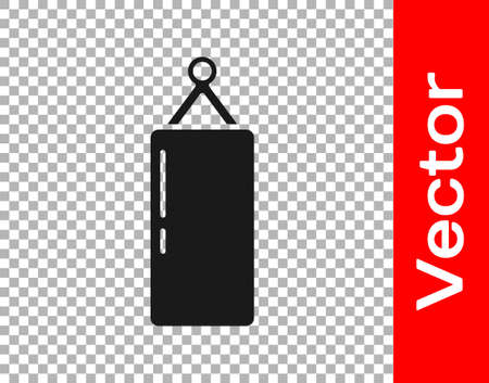 Black Punching bag icon isolated on transparent background. Vector