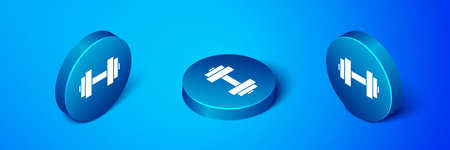 Isometric Dumbbell icon isolated on blue background. Muscle lifting icon, fitness barbell, gym, sports equipment, exercise bumbbell. Blue circle button. Vector Illusztráció