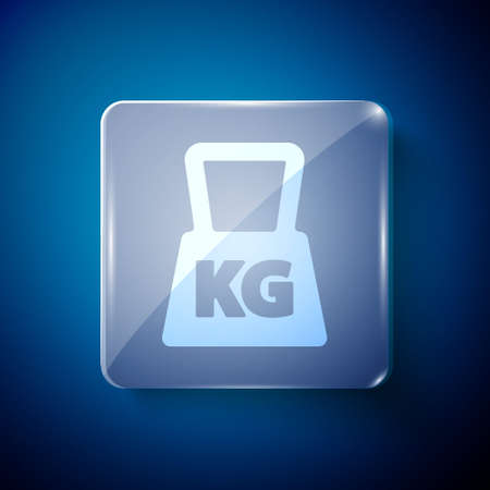 White Weight icon isolated on blue background. Kilogram weight block for weight lifting and scale. Mass symbol. Square glass panels. Vector