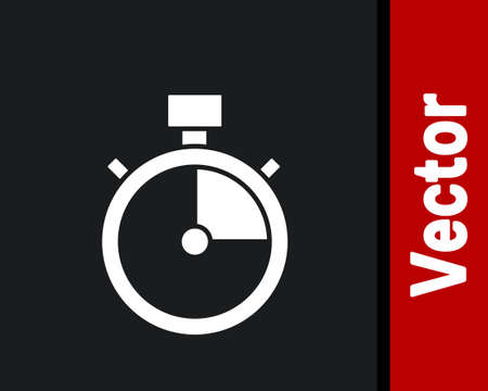 White Stopwatch icon isolated on black background. Time timer sign. Chronometer sign. Vector