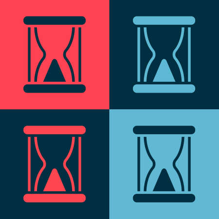Pop art Old hourglass with flowing sand icon isolated on color background. Sand clock sign. Business and time management concept. Vector