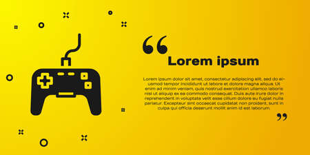 Black Gamepad icon isolated on yellow background. Game controller. Vector