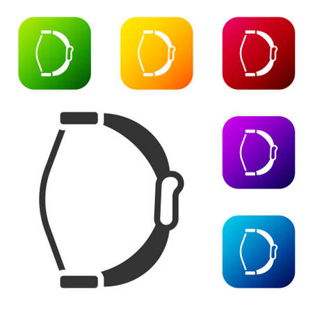 Black Bow toy icon isolated on white background. Set icons in color square buttons. Vector Illustration