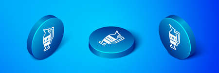 Isometric Ancient amphorae icon isolated on blue background. Blue circle button. Vector