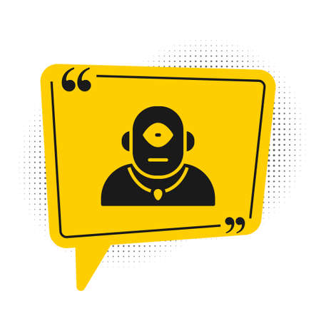 Black Cyclops icon isolated on white background. Yellow speech bubble symbol. Vector