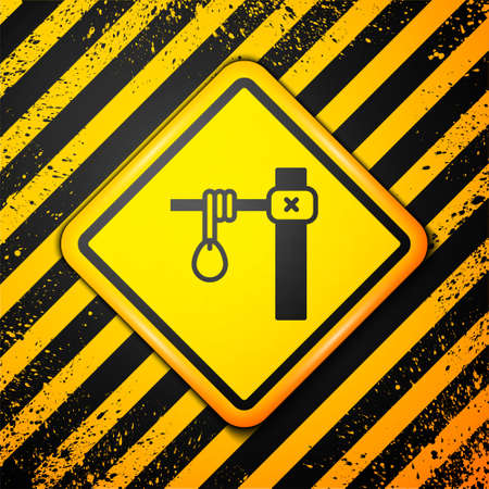 Black Gallows rope loop hanging icon isolated on yellow background. Rope tied into noose. Suicide, hanging or lynching. Warning sign. Vector