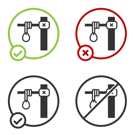 Black Gallows rope loop hanging icon isolated on white background. Rope tied into noose. Suicide, hanging or lynching. Circle button. Vector