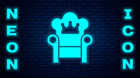 Glowing neon Medieval throne icon isolated on brick wall background. Vector