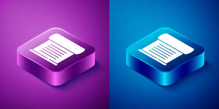 Isometric Decree, paper, parchment, scroll icon icon isolated on blue and purple background. Square button. Vector Ilustracja
