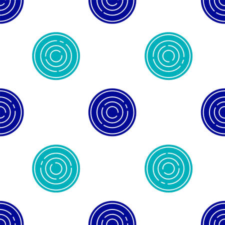 Blue Checker game chips icon isolated seamless pattern on white background. Vector