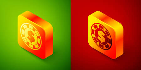 Isometric Casino chip with dollar symbol icon isolated on green and red background. Casino gambling. Square button. Vector