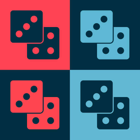 Pop art Game dice icon isolated on color background. Casino gambling. Vector