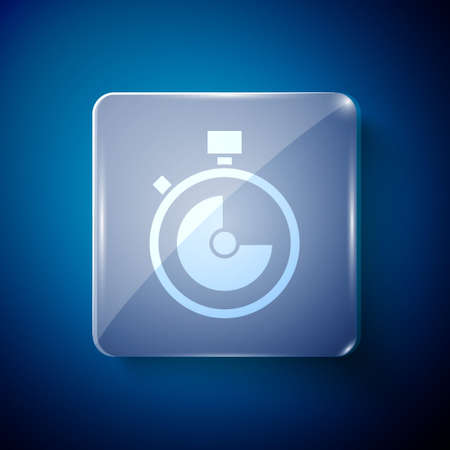 White Stopwatch icon isolated on blue background. Time timer sign. Chronometer sign. Square glass panels. Vector Çizim