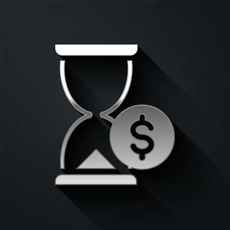 Silver Hourglass with dollar icon isolated on black background. Money time. Sandglass and money. Growth, income, savings, investment. Long shadow style. Vector