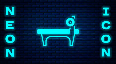 Glowing neon Bench with barbel icon isolated on brick wall background. Gym equipment. Bodybuilding, powerlifting, fitness concept. Vector
