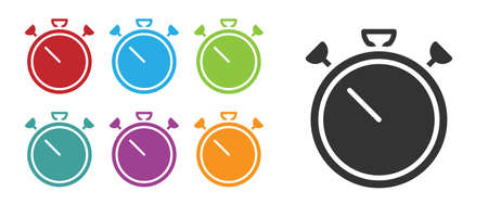 Black Stopwatch icon isolated on white background. Time timer sign. Chronometer sign. Set icons colorful. Vector