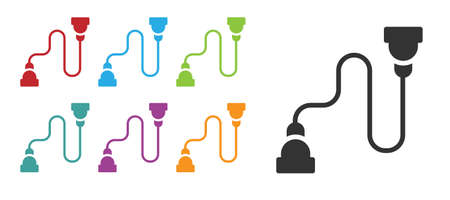 Black Chest expander icon isolated on white background. Set icons colorful. Vector Illusztráció