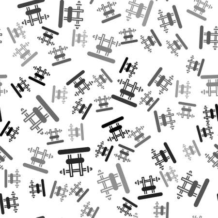 Black Bench with barbel icon isolated seamless pattern on white background. Gym equipment. Bodybuilding, powerlifting, fitness concept. Vector Illusztráció