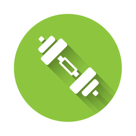 White Dumbbell icon isolated with long shadow. Muscle lifting icon, fitness barbell, gym, sports equipment, exercise bumbbell. Green circle button. Vector Illusztráció