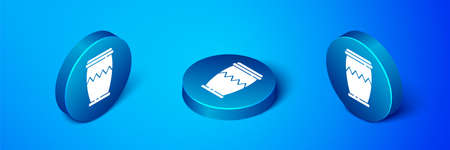 Isometric Drum icon isolated on blue background. Music sign. Musical instrument symbol. Blue circle button. Vector Illustration