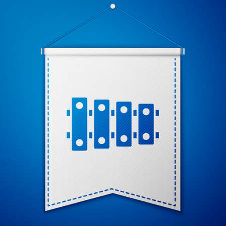 Blue Xylophone - musical instrument with thirteen wooden bars and two percussion mallets icon isolated on blue background. White pennant template. Vector