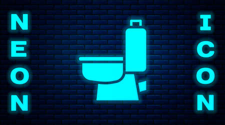 Glowing neon Toilet bowl icon isolated on brick wall background. Vector