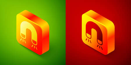 Isometric Magnet icon isolated on green and red background. Horseshoe magnet, magnetism, magnetize, attraction. Square button. Vector 矢量图像