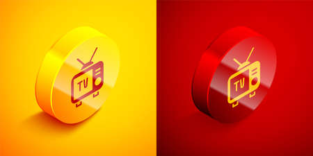 Isometric Retro tv icon isolated on orange and red background. Television sign. Circle button. Vector Çizim
