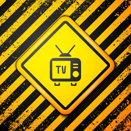 Black Retro tv icon isolated on yellow background. Television sign. Warning sign. Vector