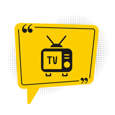Black Retro tv icon isolated on white background. Television sign. Yellow speech bubble symbol. Vector