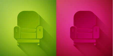 Paper cut Armchair icon isolated on green and pink background. Paper art style. Vector Stock Illustratie
