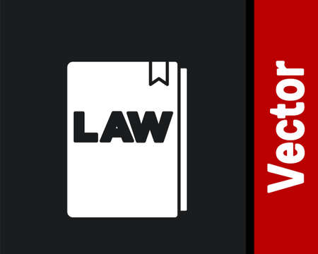 White Law book icon isolated on black background. Legal judge book. Judgment concept. Vector