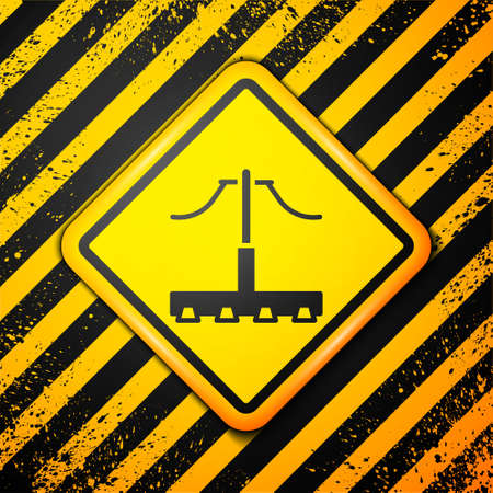 Black Railway icon isolated on yellow background. Railroad overhead lines. Contact wire. Warning sign. Vector 向量圖像