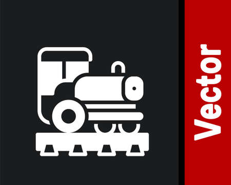 White Vintage locomotive icon isolated on black background. Steam locomotive. Vector