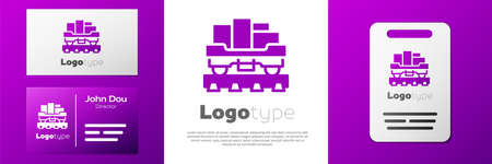 Logotype Cargo train wagon icon isolated on white background. Full freight car. Railroad transportation. Logo design template element. Vector