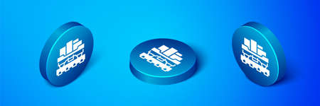 Isometric Cargo train wagon icon isolated on blue background. Full freight car. Railroad transportation. Blue circle button. Vector 向量圖像