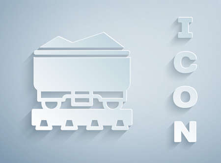 Paper cut Coal train wagon icon isolated on grey background. Rail transportation. Paper art style. Vector