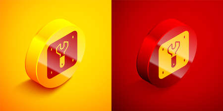 Isometric Repair of railway icon isolated on orange and red background. Repair works. Renovation work. Sign and barrier tapes. Circle button. Vector