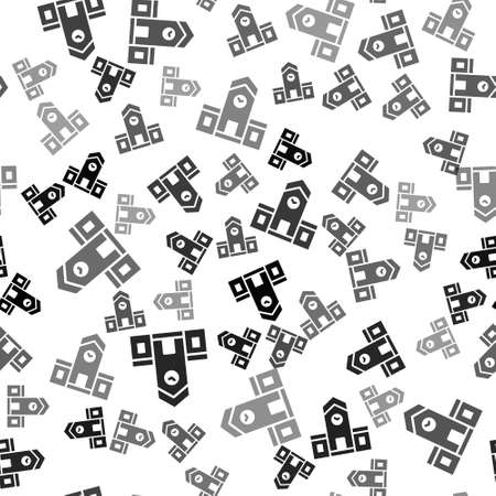 Black Railway station icon isolated seamless pattern on white background. Vector 向量圖像
