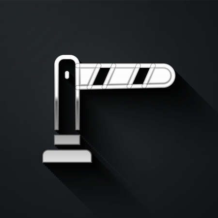 Silver Railway barrier icon isolated on black background. Long shadow style. Vector