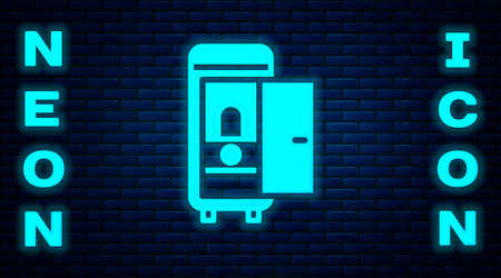 Glowing neon Toilet in the train car icon isolated on brick wall background. Vector