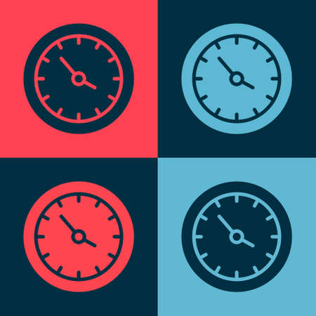 Pop art Train station clock icon isolated on color background. Vector 向量圖像