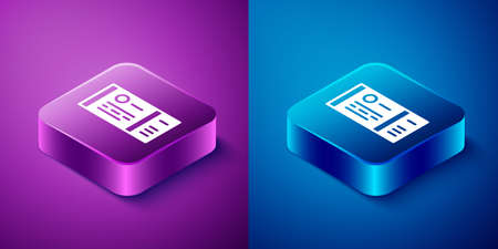 Isometric Train ticket icon isolated on blue and purple background. Travel by railway. Square button. Vector